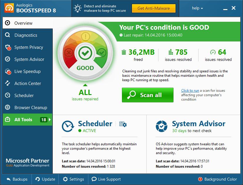 Главная панель в Auslogics BoostSpeed