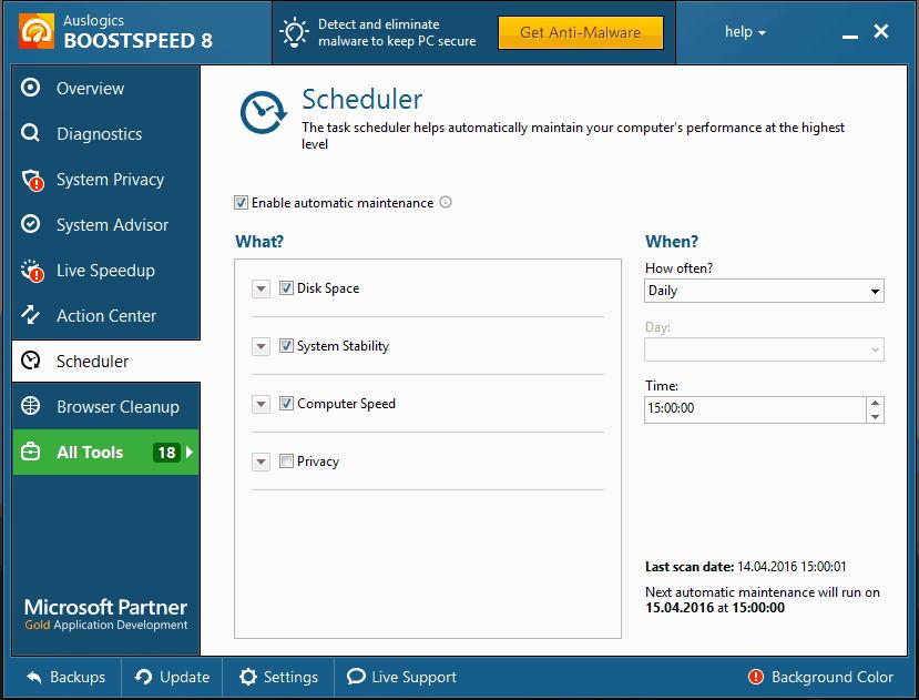 Планировщик в Auslogics BoostSpeed
