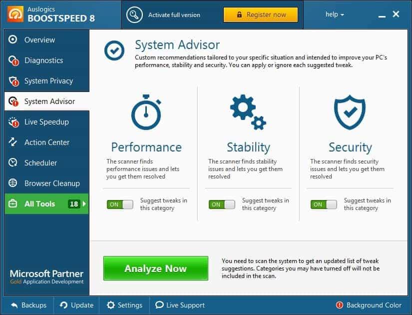 Настройка системы с помощью советника программы Auslogics BoostSpeed