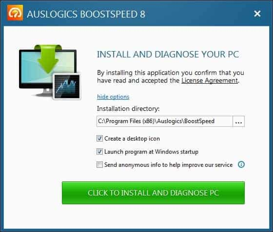 Установка Auslogics BoostSpeed
