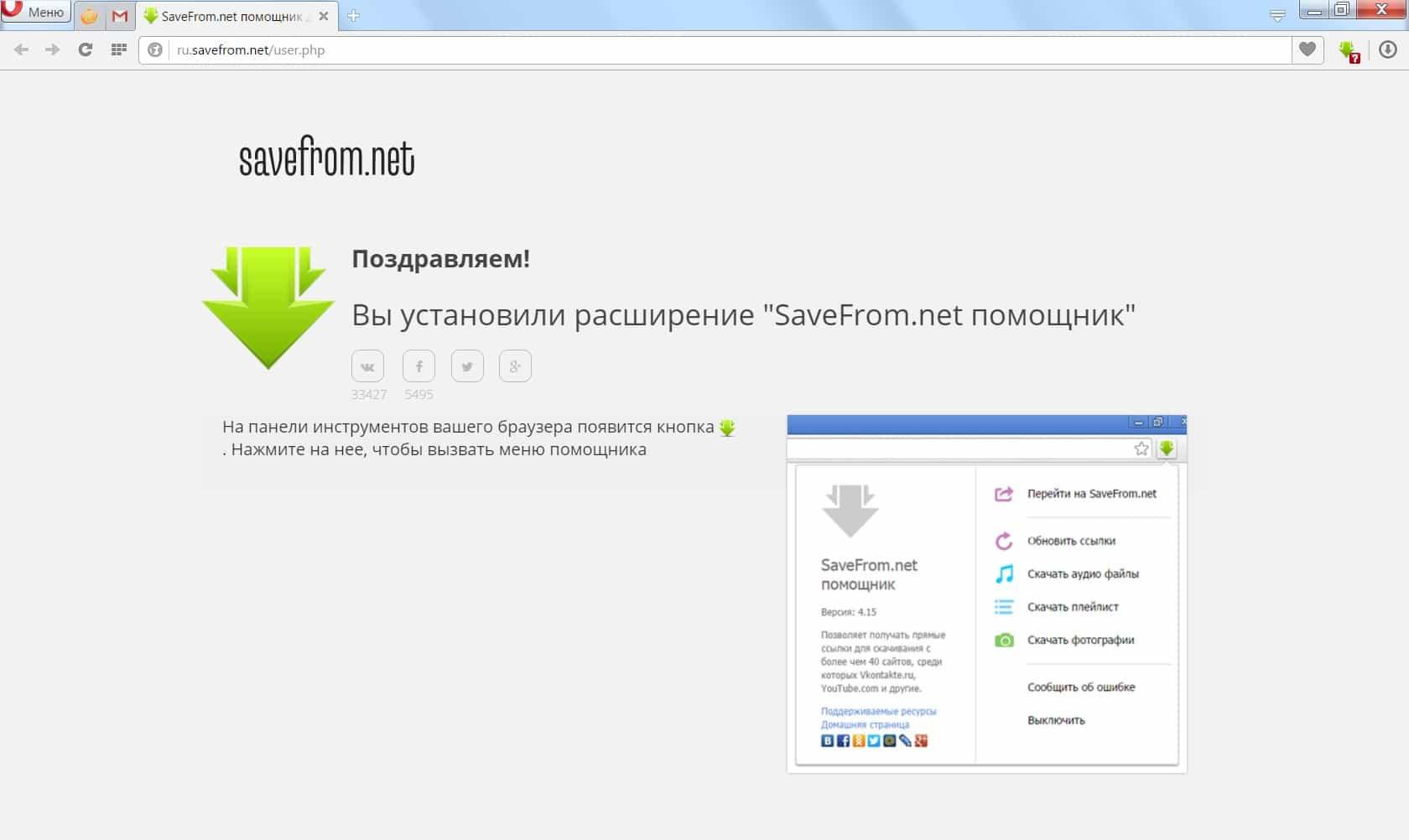 Отчет об успешной установке Savefrom.net